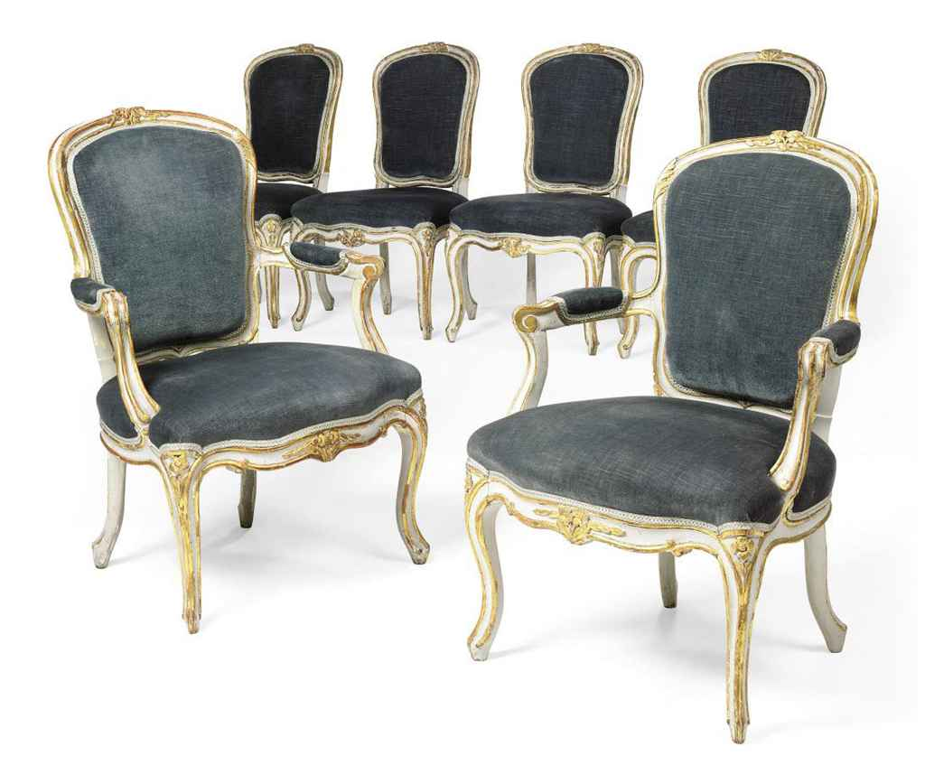 A set of six and parcel gilt painted salon chairs of for 212 salon st louis