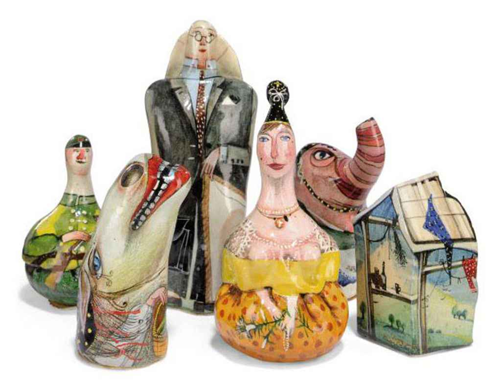 A russian polychrome ceramic chess set and lacquered wood board by ella nivigenia late 20th - Ceramic chess sets for sale ...