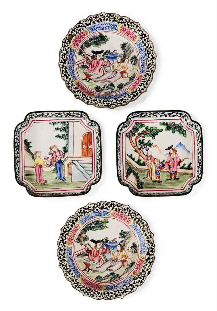 A GROUP OF SMALL CHINESE PAINTED CANTON ENAMEL TRAYS