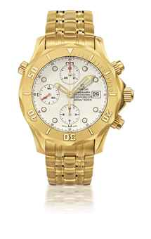 OMEGA, SEAMASTER PROFESSIONAL, REF.2196.20.00  YELLOW GOLD AUTOMATIC CHRONOGRAPH WRISTWATCH WITH DATE AND BRACELET