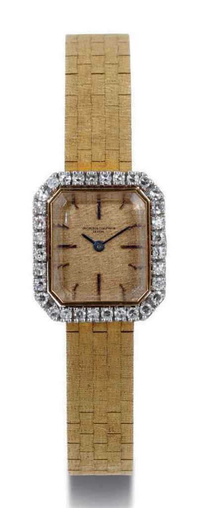 VACHERON CONSTANTIN A LADY'S 18K GOLD AND DIAMOND RECTANGUL...