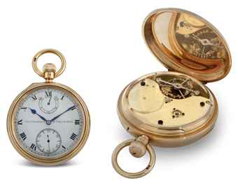 CHARLES FRODSHAM. A FINE AND RARE 18K GOLD OPENFACE TOURBILLON KEYLESS LEVER POCKET WATCH WITH UP-AND-DOWN INDICATOR