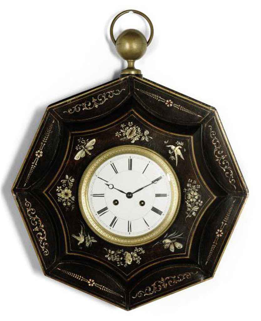 A FRENCH TOLE PEINTE STRIKING WALL CLOCK MID 19TH