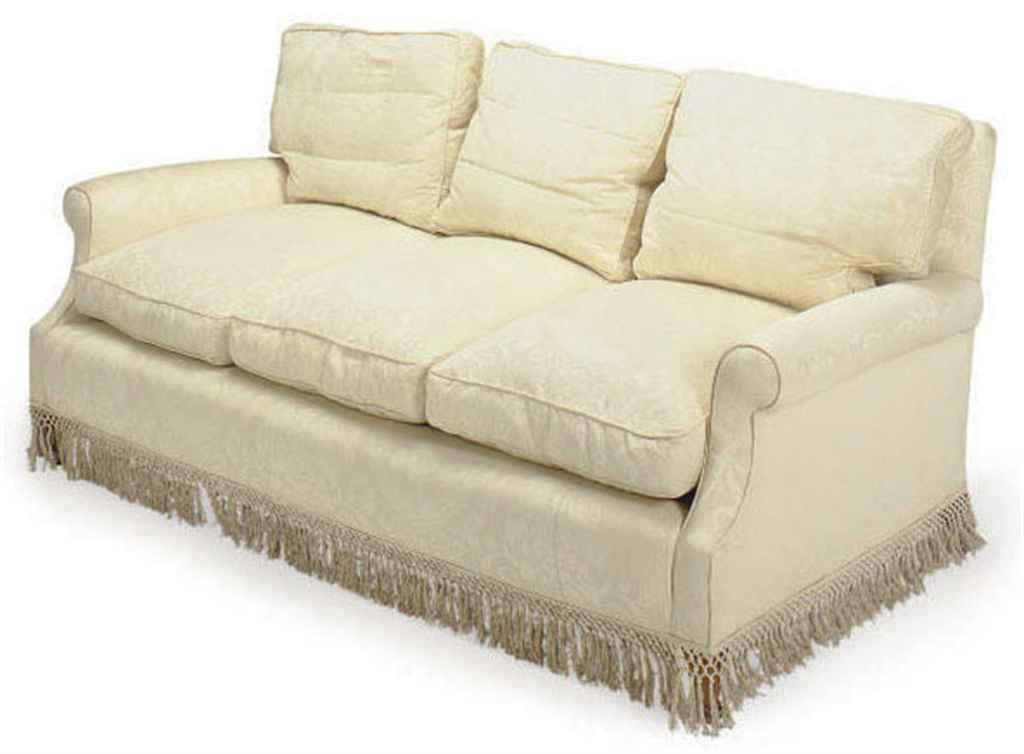 A Cream Silk Damask Upholstered Three Seat Sofa Late