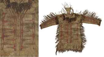PAINTED HIDE SHIRT, GREAT LAKES REGION