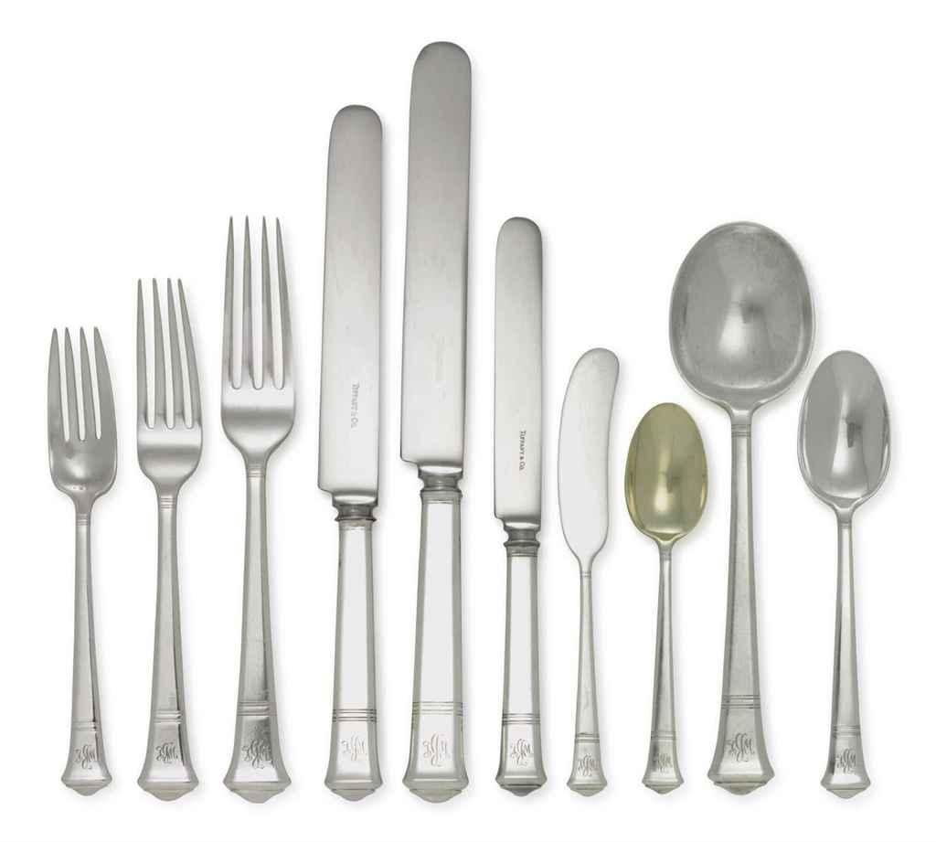 a silver flatware service