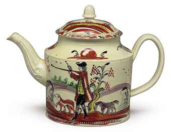 A STAFFORDSHIRE CREAMWARE CYLINDRICAL TEAPOT AND COVER