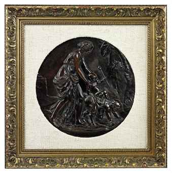 A FRENCH PATINATED BRONZE MYTHOLOGICAL RELIEF ROUNDEL