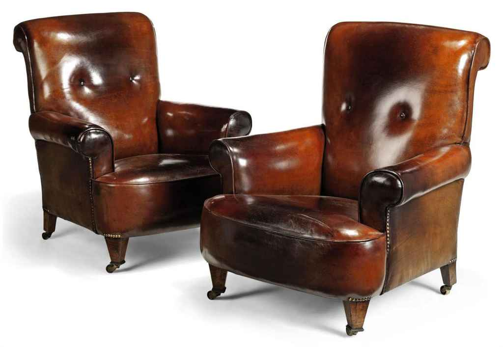 A PAIR OF EDWARDIAN LEATHER CLUB CHAIRS EARLY 20TH
