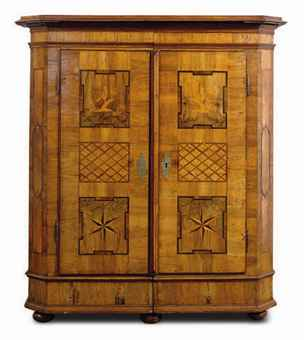 A GERMAN BAROQUE WALNUT, PARQUETRY AND MARQUETRY ARMOIRE,
