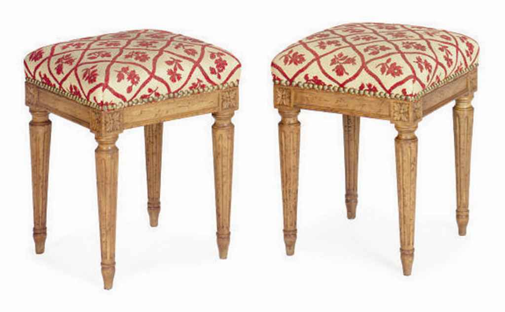 A PAIR OF FRENCH BEECHWOOD TABOURET
