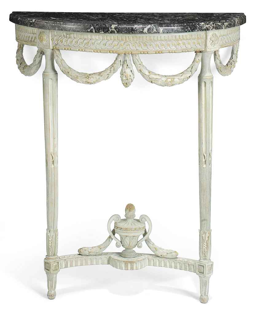A LOUIS XVI CARVED AND PALE GREY-PAINTED DEMI-LUNE CONSOLE ...