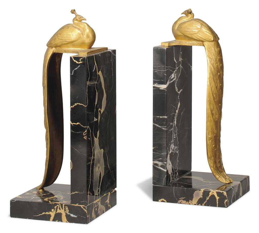 A Pair Of Charles Gilt Bronze And Belgian Gold Marble 39 Peacock 39 Bookends Circa 1920 Christie 39 S