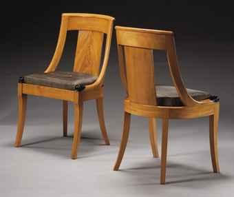 paire de chaises gondoles d 39 epoque restauration vers 1820 armchair furniture lighting. Black Bedroom Furniture Sets. Home Design Ideas