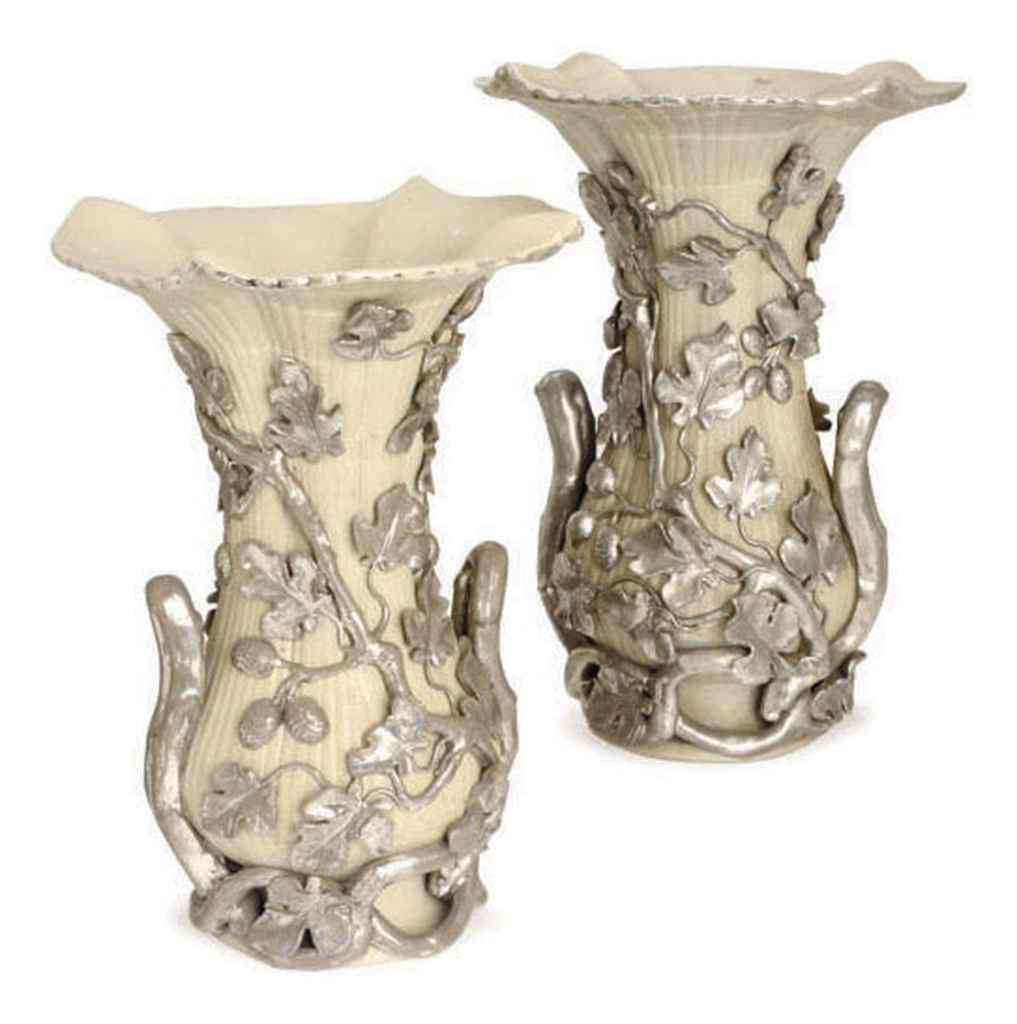 A PAIR OF LATE 19TH CENTURY LANGEAIS CELADON AND PLATINUM CR...
