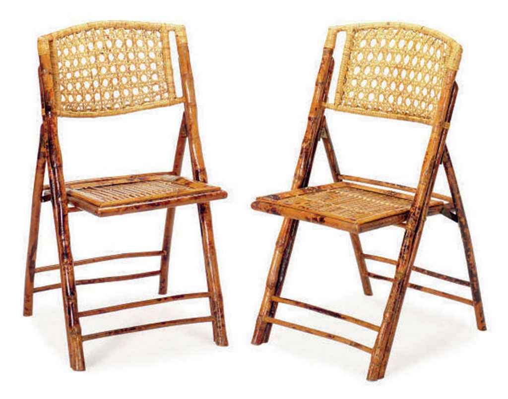 A SET OF EIGHT BAMBOO AND RATTAN FOLDING CHAIRS LATE 20TH CENTURY