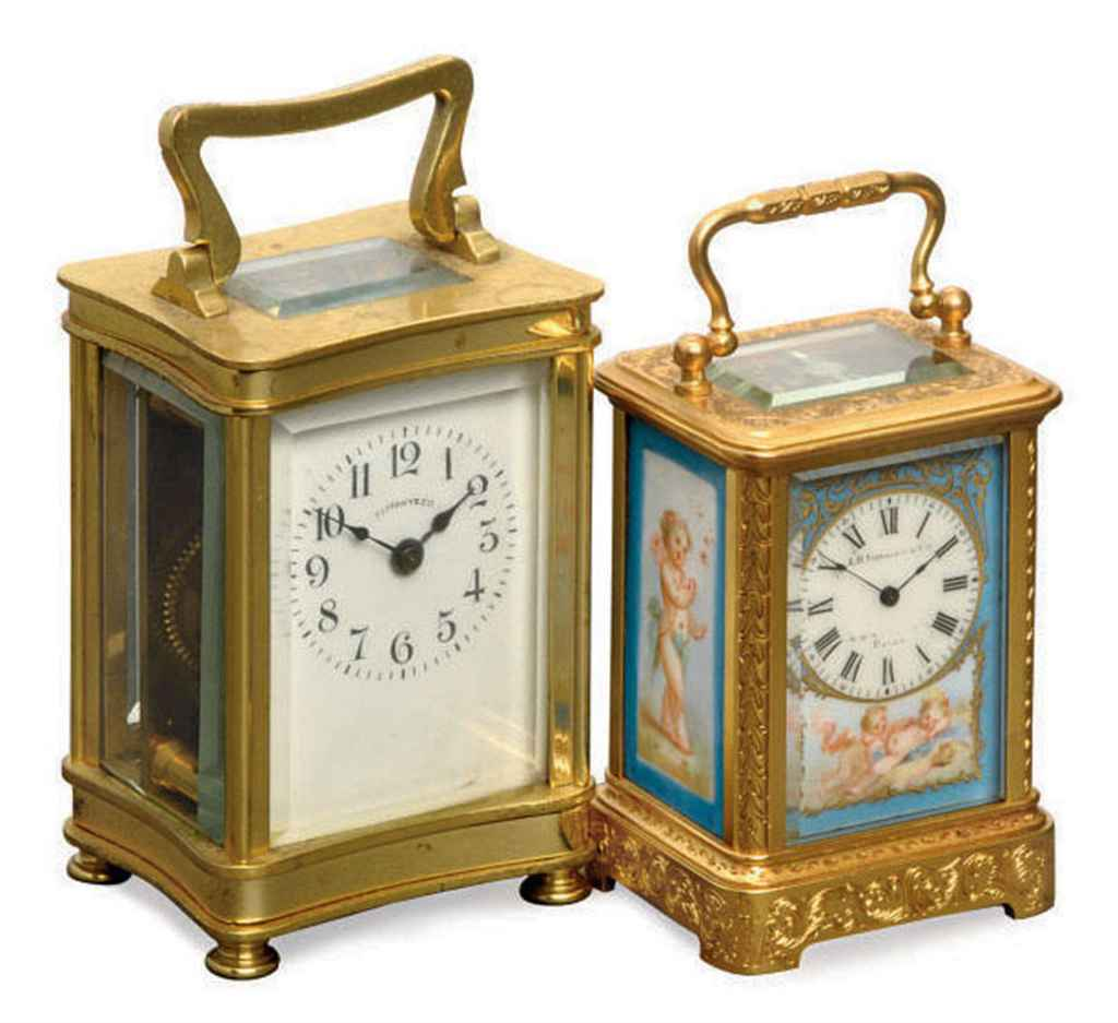 A FRENCH GILT-BRASS AND PORCELAIN MINIATURE TIMEPIECE CARRIA...