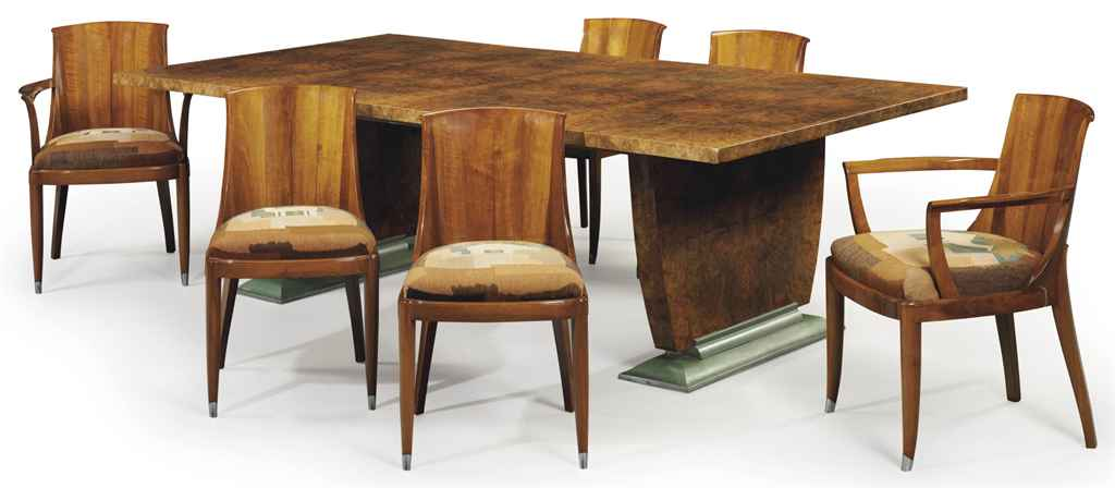 burl walnut dining table and six chairs circa 1928 christie 39 s