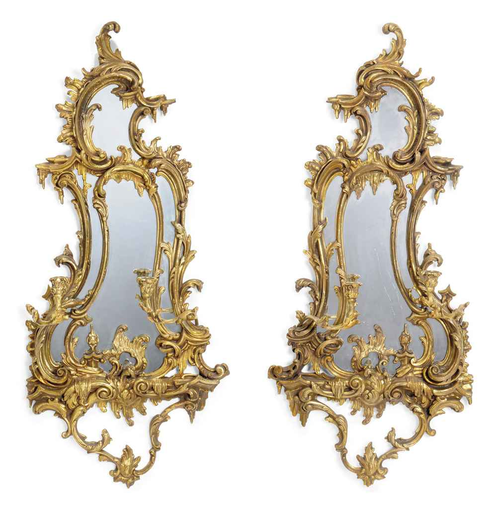 A pair of gilt composition girandole mirrors of louis xv for Miroir louis xv
