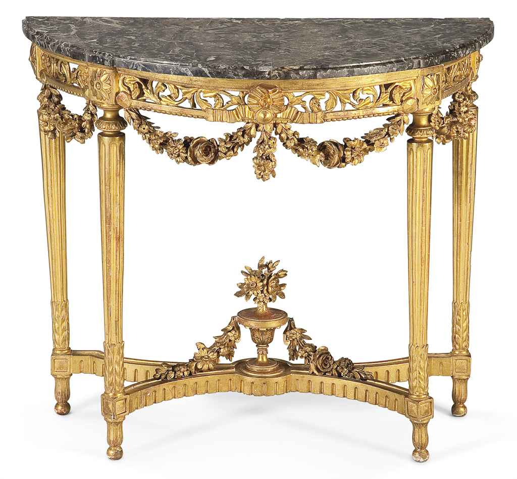 console demi lune d 39 epoque louis xvi dernier quart du xviiieme siecle christie 39 s. Black Bedroom Furniture Sets. Home Design Ideas