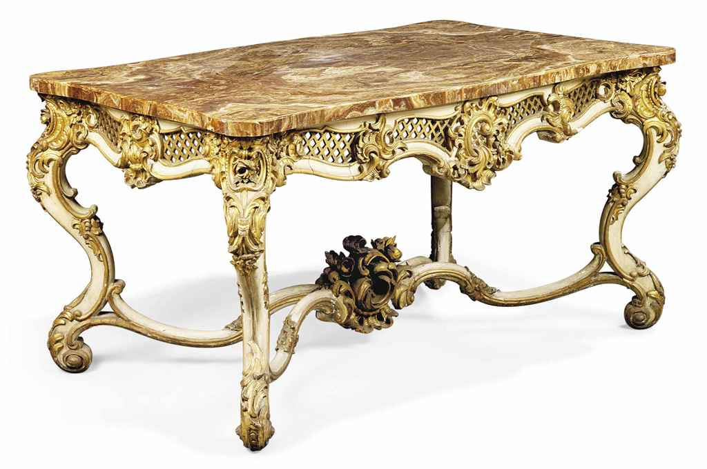 A French Parcel Gilt And White Painted Centre Table Of