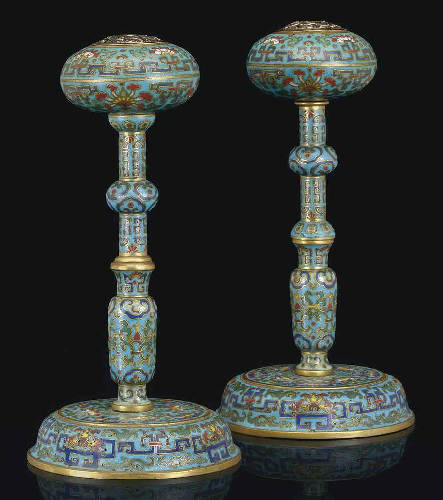 An unusual pair of cloisonne enamel hat stands qianlong for Cloison stand