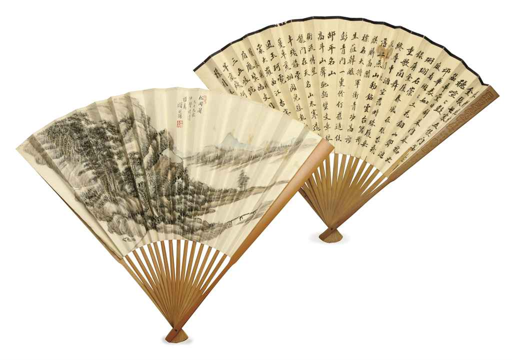 TWO CHINESE PAINTED PAPER AND WOOD FANS