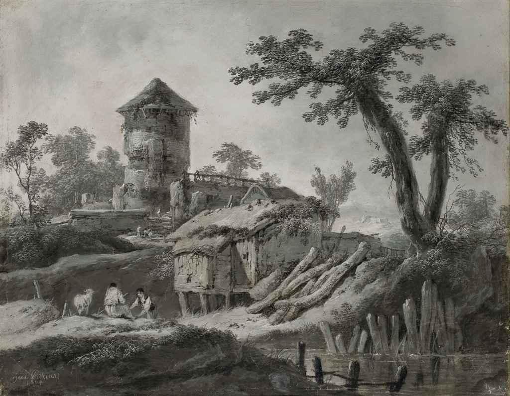 Jean baptiste pillement lyon 1728 1808 paysage fluvial for Agence paysage lyon