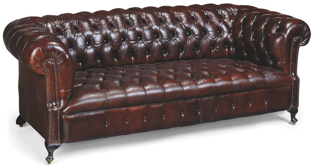 A LEATHER UPHOLSTERED CHESTERFIELD SOFA , LATE 20TH CENTURY Christie&#