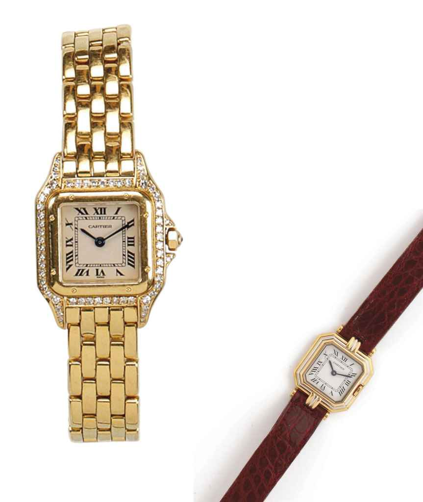TWO LADY'S 18K GOLD WRISTWATCHES, BY CARTIER