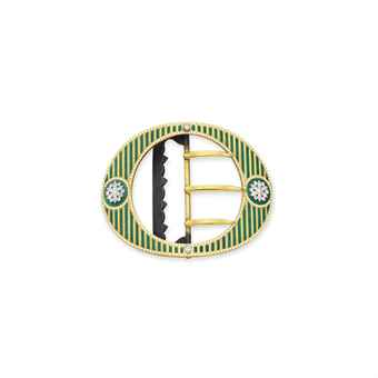 A BELLE EPOQUE ENAMEL, DIAMOND AND GOLD BELT BUCKLE, BY CARTIER
