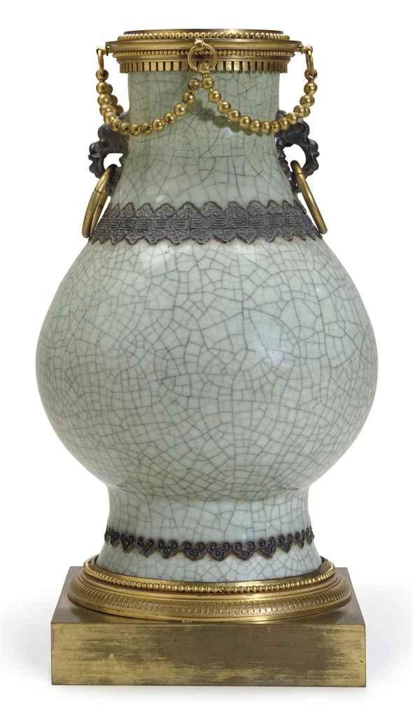 AN ORMOLU-MOUNTED CHINESE CRACKLE-GLAZED CELADON PORCELAIN V...