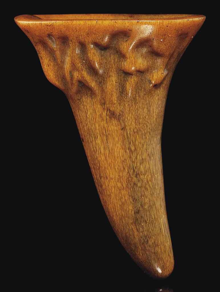 A SMALL RHINOCEROS HORN LIBATI