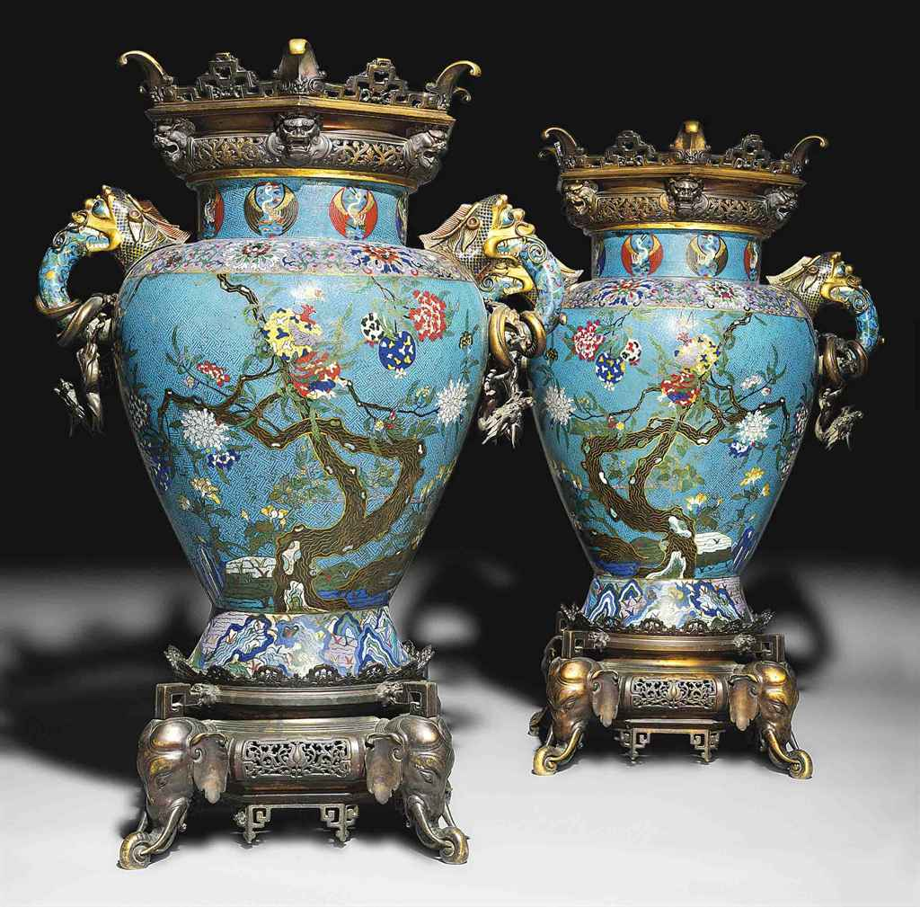 A VERY LARGE PAIR OF CLOISONNÉ ENAMEL VASES