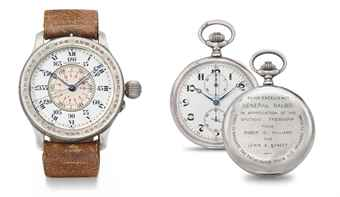 Longines. A lot of two rare and historically interesting silver timepieces, comprising one oversized hour angle Aviator's wristwatch with indirect sweep centre seconds and one openface keyless lever chronograph watch, the wristwatch reputably presented to Air Marshal Italo Balbo by Charles Lindbergh, the chronograph watch by Roger Williams and Lewis Yancey