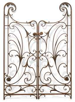 TWO PAIRS OF FRENCH WROUGHT IRON GARDEN GATES LATE 19TH