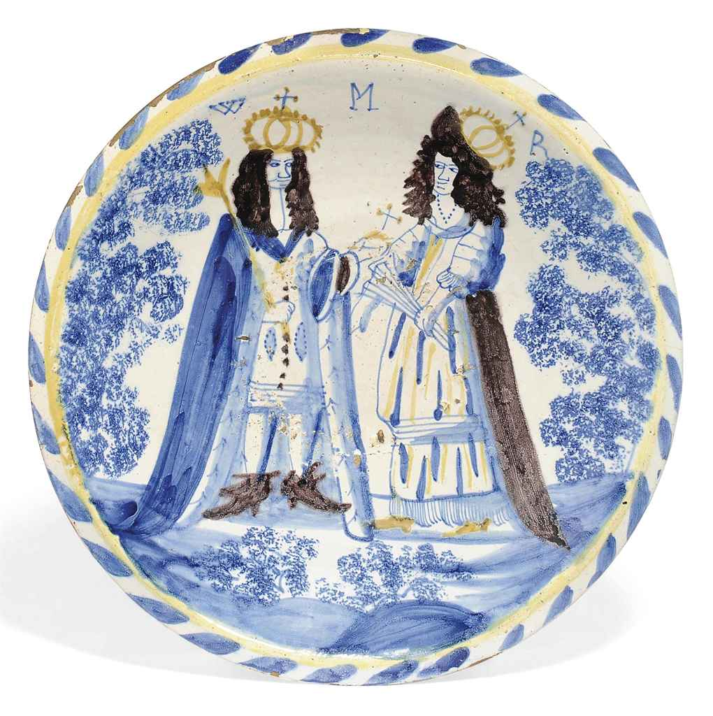 AN ENGLISH DELFT BLUE-DASH ROYAL DOUBLE PORTRAIT CHARGER OF ...