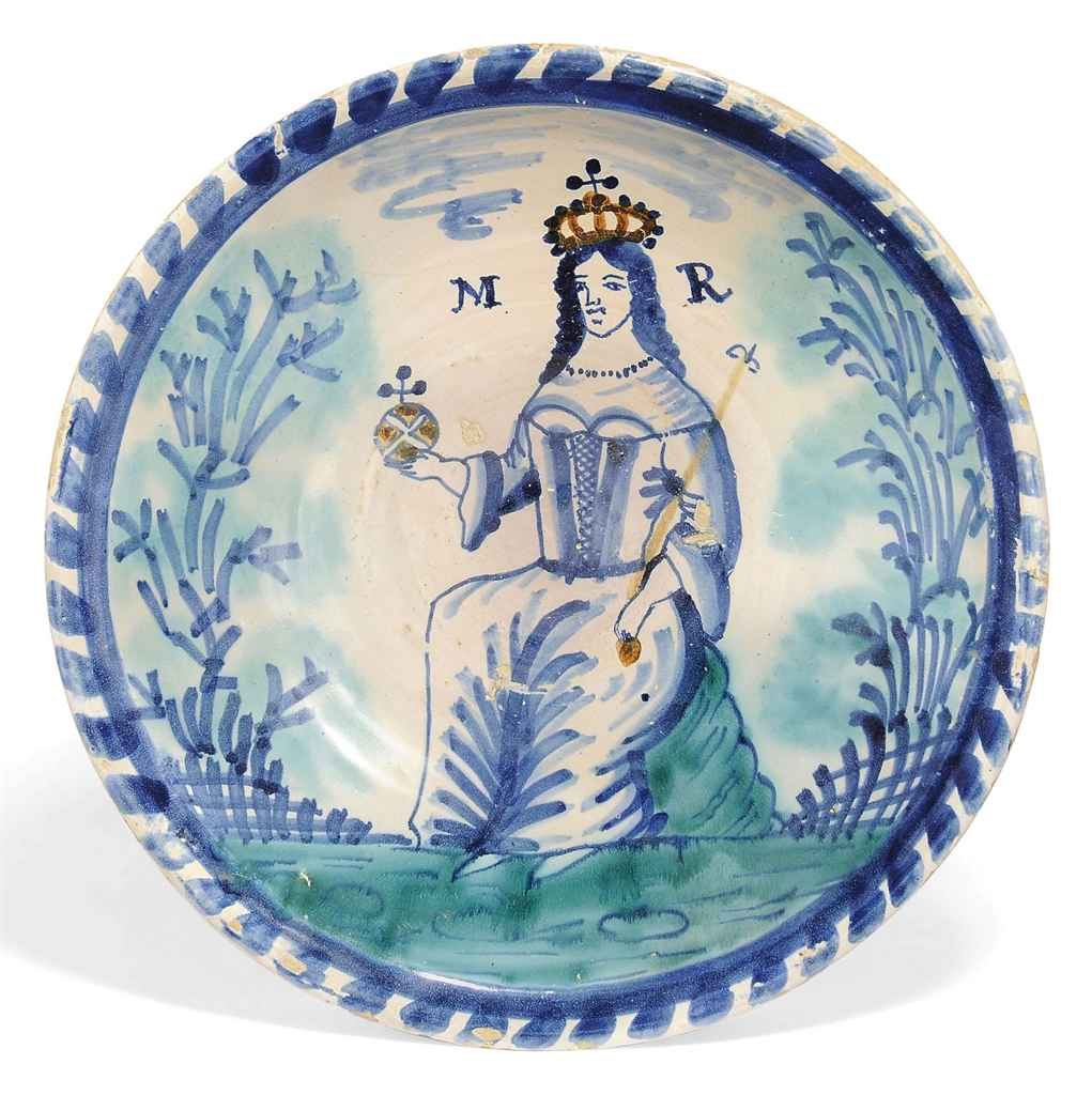 AN ENGLISH DELFT BLUE-DASH ROYAL PORTRAIT CHARGER OF QUEEN M...