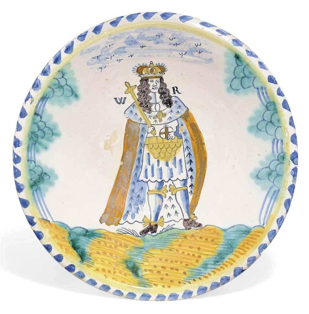 AN ENGLISH DELFT BLUE-DASH ROYAL PORTRAIT CHARGER OF WILLIAM...
