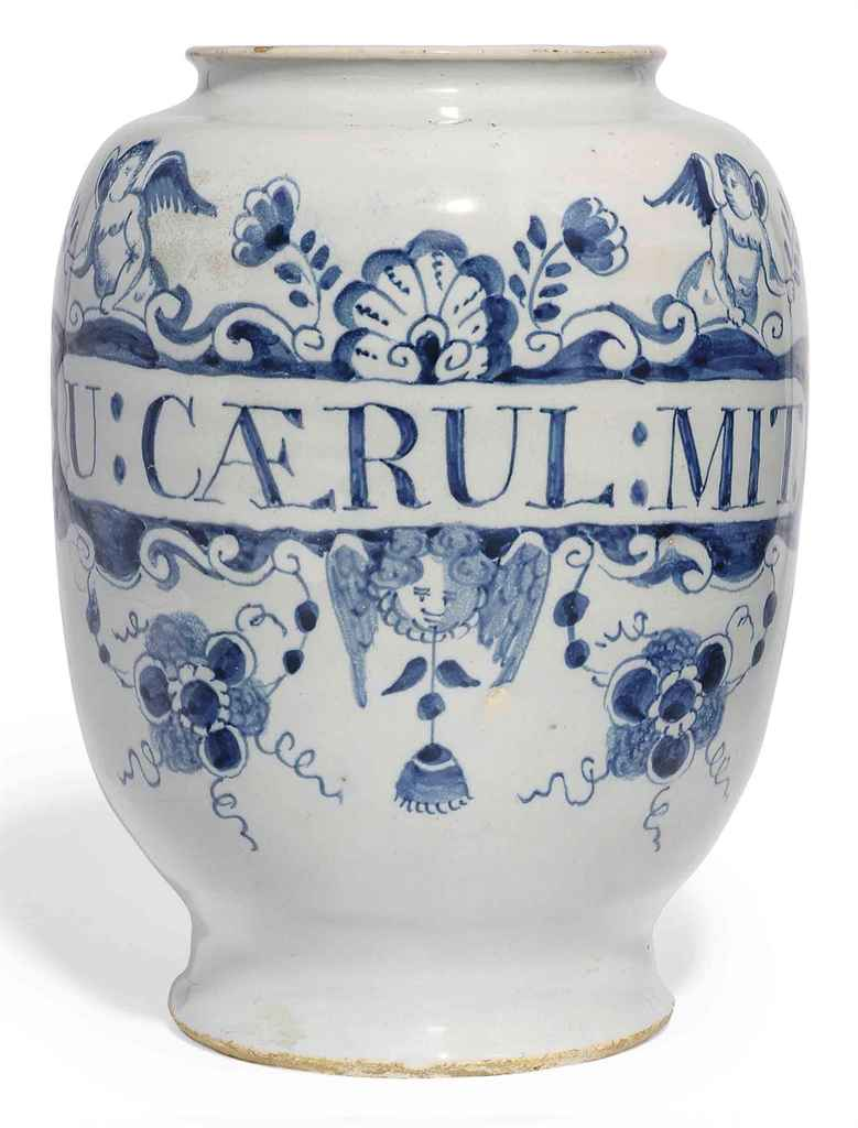 AN ENGLISH DELFT BLUE AND WHITE DRUG-JAR