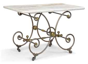 A FRENCH WROUGHT IRON BAKER'S TABLE