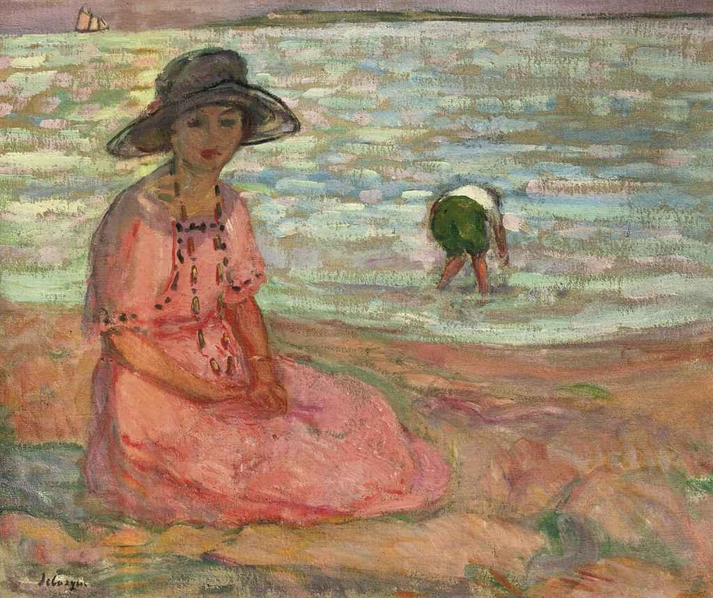 Henri Lebasque 1865 1937 Jeune Fille Assise Au Bord De
