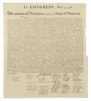 [DECLARATION OF INDEPENDENCE]. In Congress, July 4, 1776. The Unanimous Declaration of the Thirteen United States of America. When in the Course of Human Events... [Washington, D.C.,] engraved by W.J. Stone (1823-1825), reprinted 1833 from the original copperplate, for Peter Force's American Archives (1837-1853), [Traditionally mis-dated 1848, see below].
