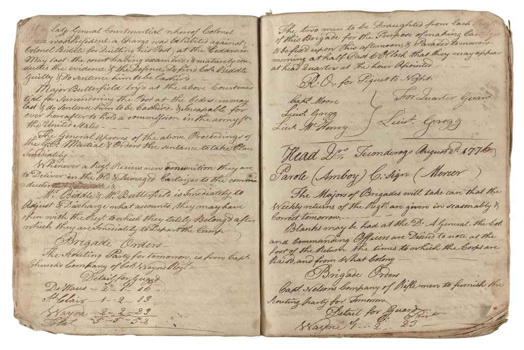 REVOLUTIONARY WAR] Manuscript orderly book, kept by First L...
