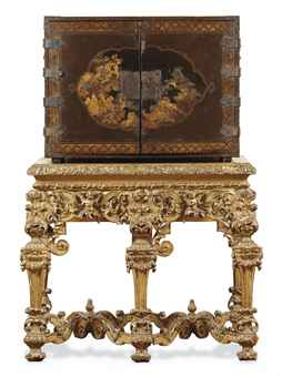 An Export Lacquer Cabinet on European Giltwood Stand