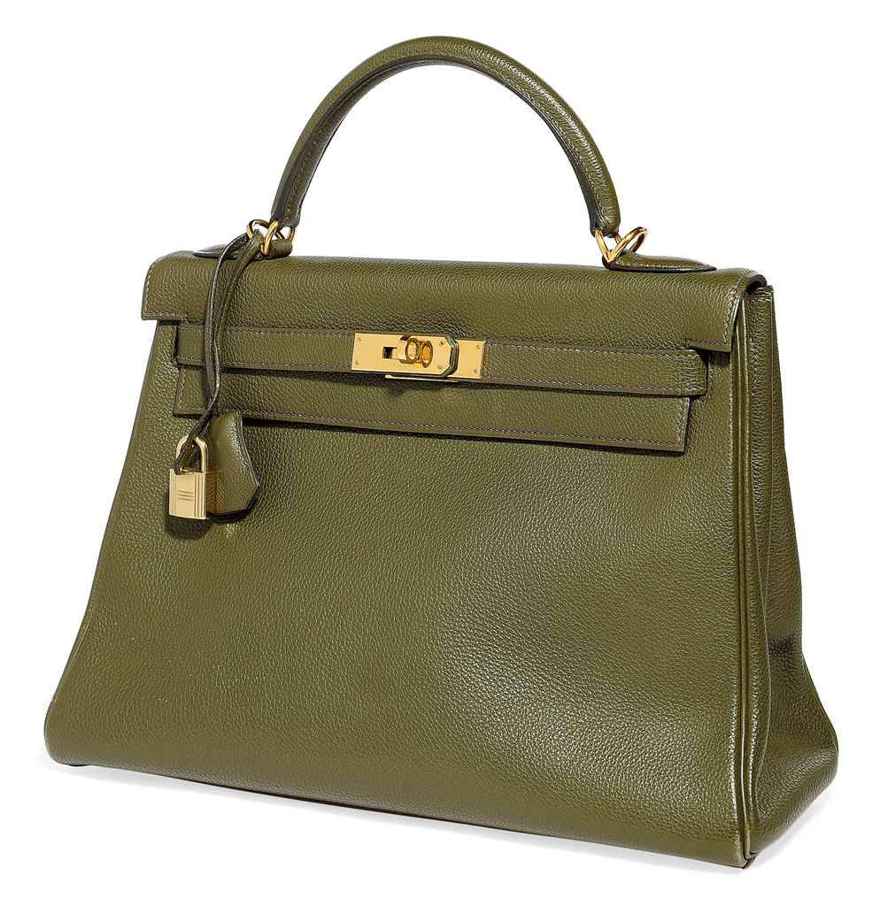 A VERT OLIVE LEATHER 'KELLY' B