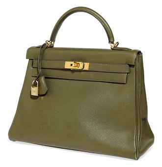 A VERT OLIVE LEATHER 'KELLY' BAG