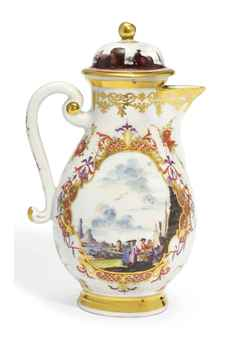 A MEISSEN BALUSTER COFFEE-POT AND A MEISSEN COVER