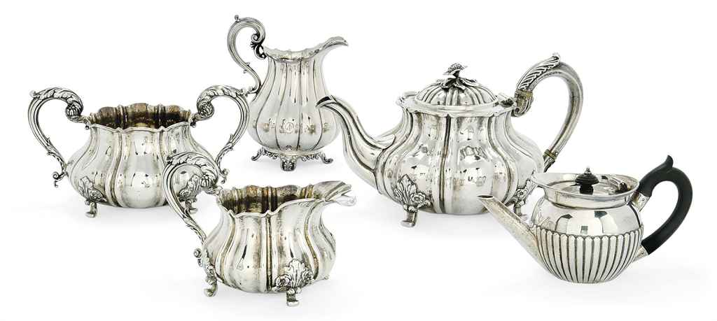 A MATCHED WILLIAM IV/VICTORIAN SILVER THREE-PIECE TEA SERVIC...
