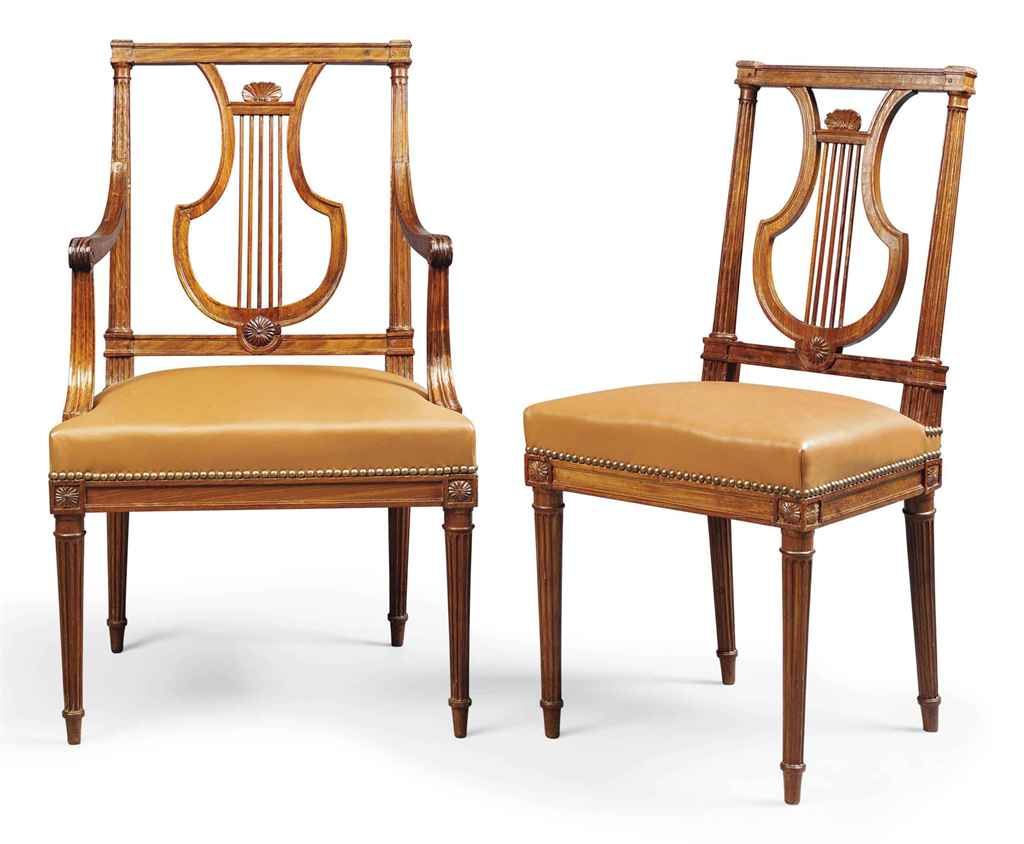 A SET OF TEN LOUIS XVI MAHOGANY DINING CHAIRS BY JEAN BAPTISTE BOULARD CIR
